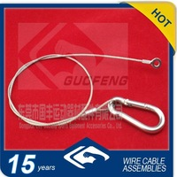 Guofeng OEM galvanized /stainless steel wire rope with stamped eyes and carabiner