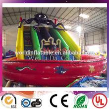 2014 Hot water games octopus inflatable big water slide