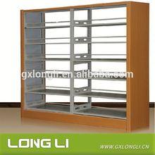 Customized Design Bookshelf Double Column Bookshelf Iron and Wooden Bookshelf Small Oak Bookcase