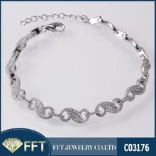 Charm Bracelet Vintage Sterling Silver Chain Link Bracelet