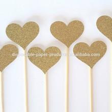 NEW Gold Glitter Heart Cake Picks - Set of 6