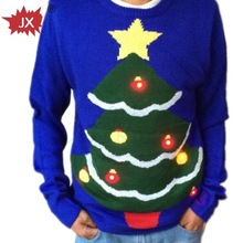 Happy 2014 year Christmas Sweater with LED flash module for adults,boys and girls