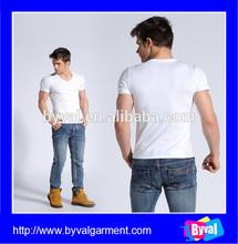 Wholesale Custom Plain White Fashion Men Blank T-shirt V-neck Men's T-shirt
