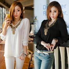 Korean Women's Girl Long Sleeve Shirt V Collar Bronze Flat Studs Tops Black/White shirt