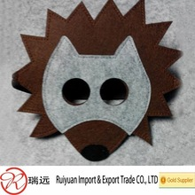 2015 new product!!! Cute 17*15cm Hedgehog felt mask with tail for kid party toy and halloween promotion