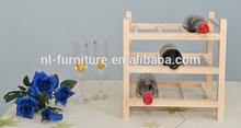 Pine wooden wine bottle rack, wine display rack simplified furniture