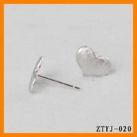 2014 korea fashion 925 sterling silver heart stud earring wholesale ZTYJ-020