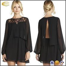China OEM wholesale new high quality Women Long Sleeve elegant blouse and skirt 2 pieces lace Black chiffon Dress
