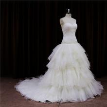 Dazzling super ruche simple wedding dress samples