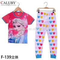 frozen elsa short sleeve milk silk t-shirts and pants 2 pcs sleepwear