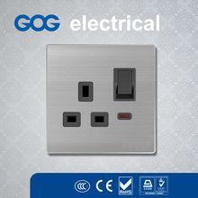 British Standard Brushed Aluminium 3 pin Light Socket