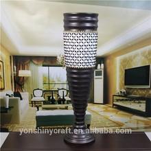 resin black and white beaded big floor tall vase