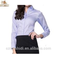 Poliéster personalizado camisa de manga longa uniformes para senhoras