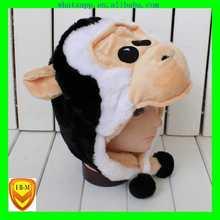winter animal soft plush hats skull bucket hat