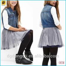 2014 New Fashion Button-Front Girls Denim Vest
