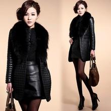 Fashion Womens Faux Raccoon Fur Collar Black Jacket Short Coat Leather Outerwear SV007257#
