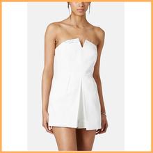 ladies notch white mini dress wholesale white romper D0157