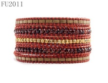 FU2011 Fashion Bohemia Style Handcraft 4mm Gemstone Bead wrap bracelet
