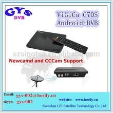 New cccam android DVB-S2 vigica c70 hd receiver Android tv box dvb s2 support CCcam/Newcam