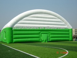inflatable green and white stripe tennis court tent