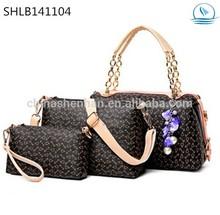 woman bag sets with cute accessory solid coffee handbag