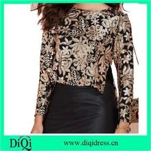 high designer women sequin blouse floral pattern sequin long sleeve women blouse women clothes