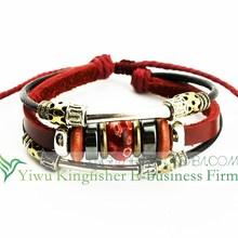 Latest design leather wrap bracelet murano beads bracelet adjustable wrist bracelet for unisex China direct supplier reliable