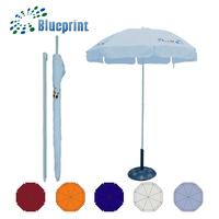 Logo Printed Polyester Fabric Sun Garden Umbrella With Curtains And Tilt