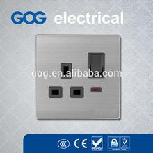 British Standard Brushed Aluminium plug and socket
