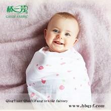 Custom design muslin cute infant swaddle blanket