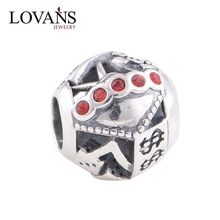 Rose Silver Charm Fine Pure Red Color Crystal Beads Factory Directly Sale YZ337