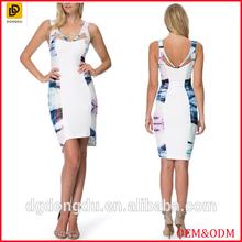Women sexy cut out straps painter print summer dress wholesale
