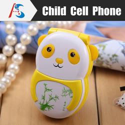 Cute child cartoon panda China gift oem cheap cell phone Yellow & White