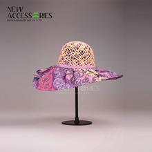 2014 ladies fashion purple hollow straw hat