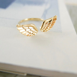 Ebay china website fashion alloy gold plated angel wing ring