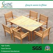 Outdoor Furniture Hot Sales Modern Sectional Teak Wood Rectangle Table Pratio Dining Set SOF1050