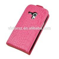 Vertical Crocodile Grain Real Leather Case for Samsung Galaxy S3 Mini i8190