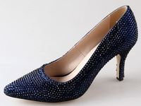 BS875 custom handmade pointed toe navy blue rhinestones wedding shoes bridal shoes party shoes