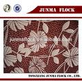flor de naranja y patrón de la hoja profesional se reúne la producción de tela de nylon rebaño