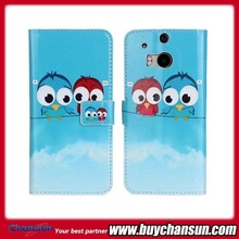 lovers owl leather case for HTC one M8 China factory wholesale