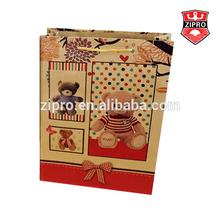 bear photo printing fancy smart shopping paper bag brown kraft gift bag