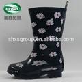 flor impresa lindo negro botas de los niños para venta al por mayor