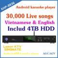 Android de disco duro reproductor de karaoke con hdmi 1080p, soporte mkv/vob/dat/avi/mpg canciones, construir- en agc/avc