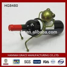 Novelty Wine Bottle Holder Metal Sculpture Frog