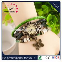 Hot Sales High Quality butterfly tag Cow Leather watch women ladies Fashion dress quartz wrist watch
