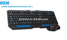 Oem sem fio teclado e Mouse de jogo, Qualquer formato de idioma
