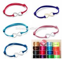 2015 wholesale women girls children products china jewelr satin silk cord rope Sliding knot closure adjustable infinity bracelet