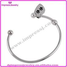 Buy China fashion jewelry IJD0391-4 enamel black two pet paw charm cremation urn jewelry stainless steel cuff bracelets