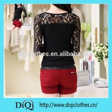 lady formal sexy fancy elegant Black lace blouse top