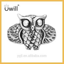 Vintage Owl Ring Sterling Silver 925 /Cute Big Owl Head Sterling Silver 925 Ring For Unisex Adults Silver Owl Ring
